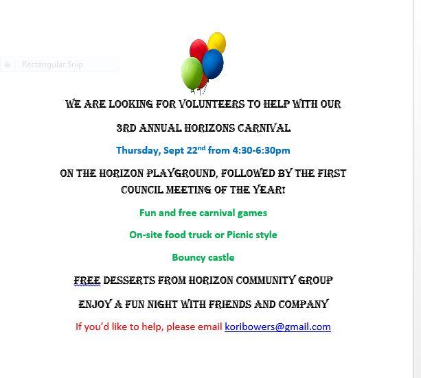 Carnival is Coming!!  Thursday, September 22 4:30-6:30PM!
