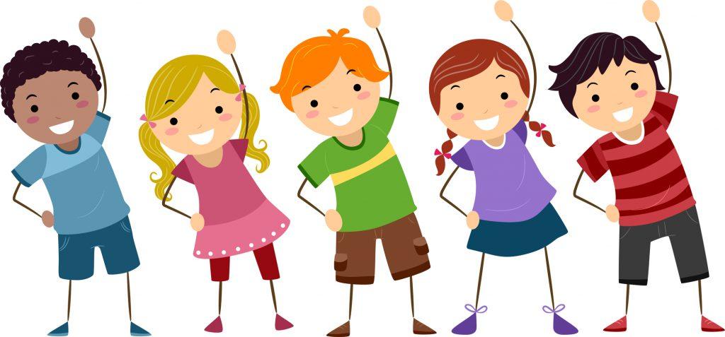 Illustration of Kids Exercising
