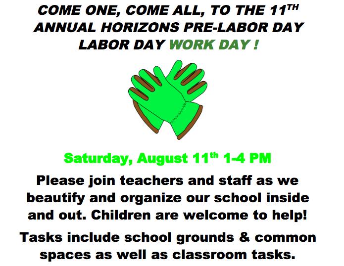 Saturday Work Day at Horizons 8/11