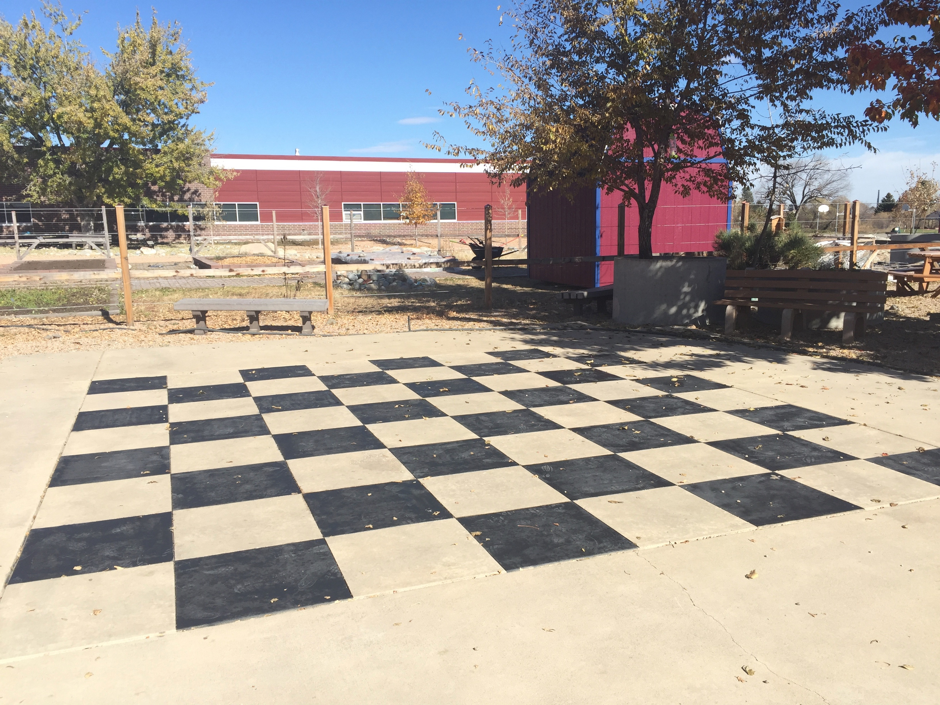 We have a new garden shed and checkerboard!
