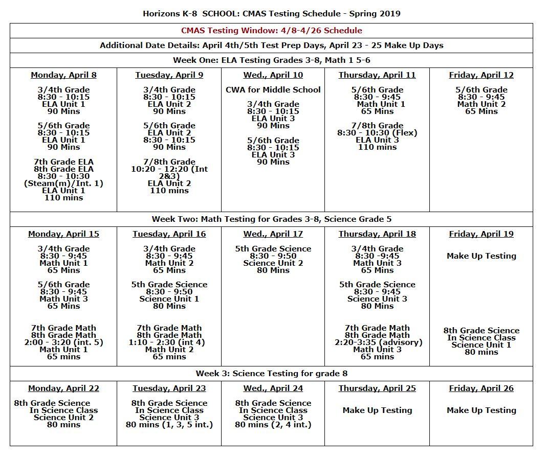Student Assessment - Horizons K-8 School
